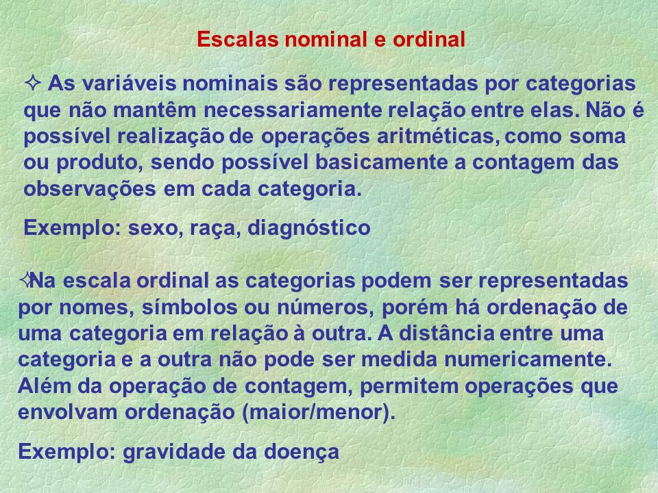 Escalas nominal e ordinal