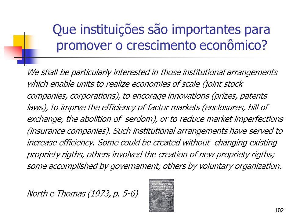 Que instituições são importantes para promover o crescimento econômico