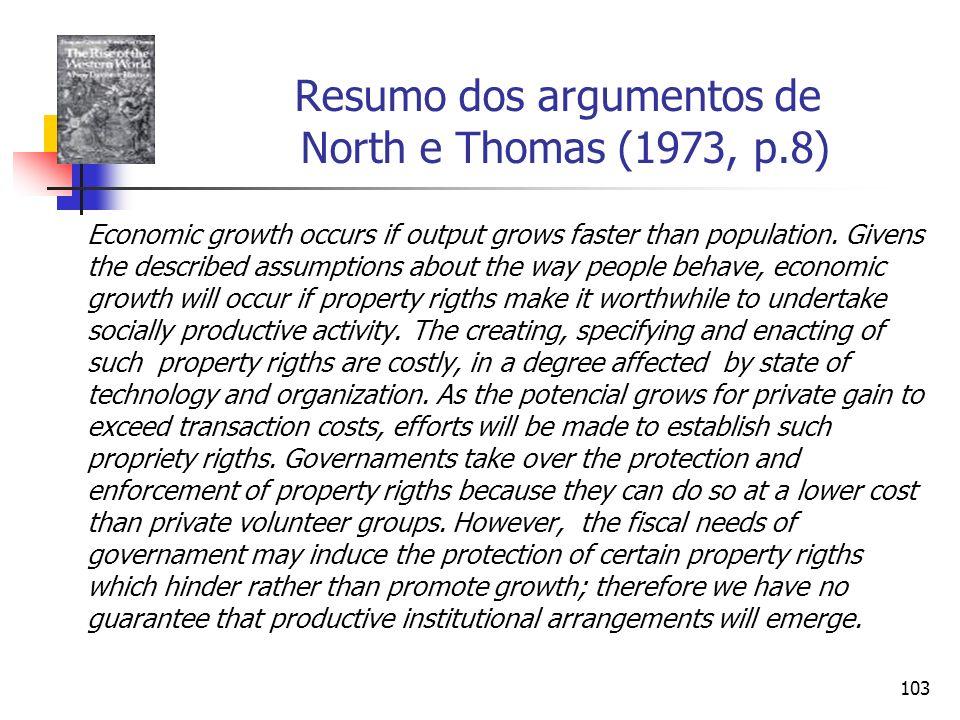 Resumo dos argumentos de North e Thomas (1973, p.8)