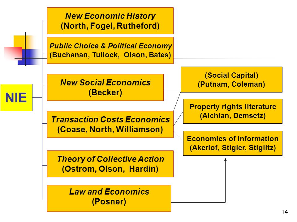 NIE New Economic History (North, Fogel, Rutheford)