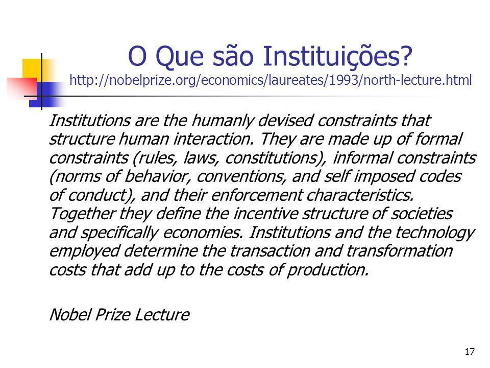 O Que são Instituições. http://nobelprize
