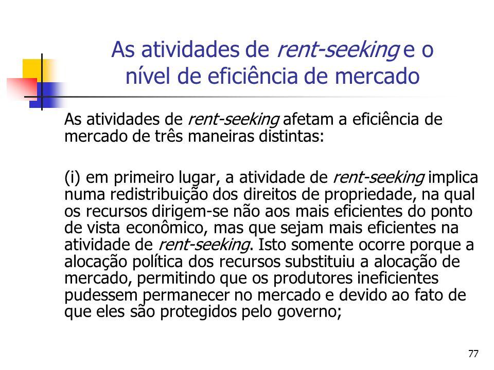 As atividades de rent-seeking e o nível de eficiência de mercado