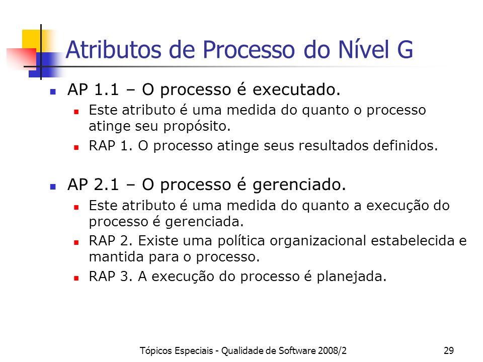 Atributos de Processo do Nível G