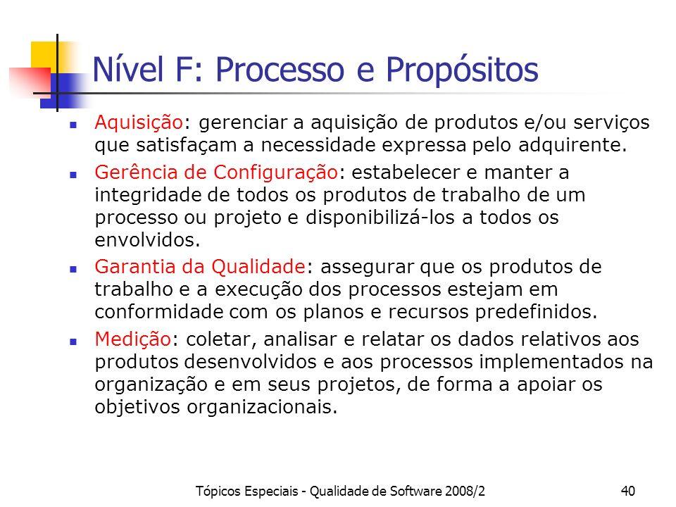 Nível F: Processo e Propósitos