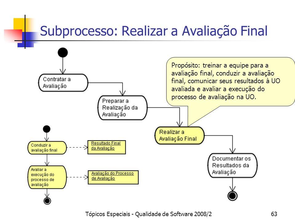 Subprocesso: Realizar a Avaliação Final