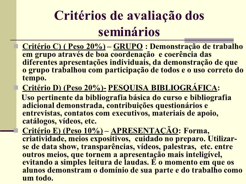 Critérios de avaliação dos seminários