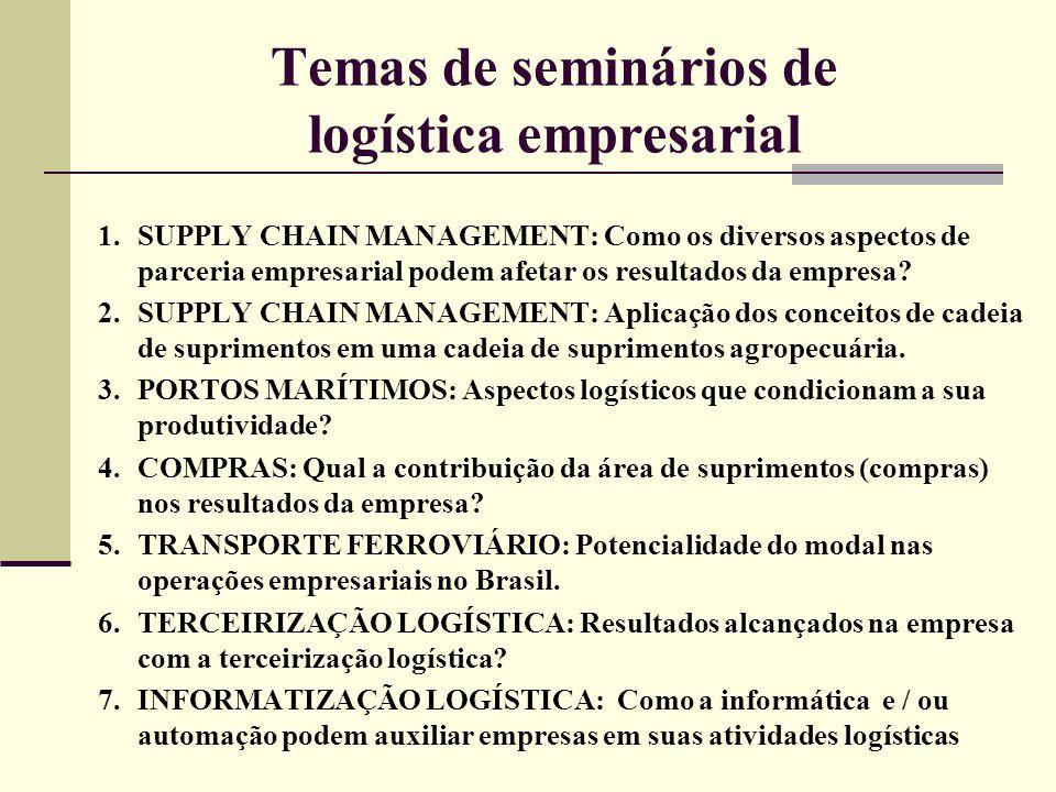 Temas de seminários de logística empresarial