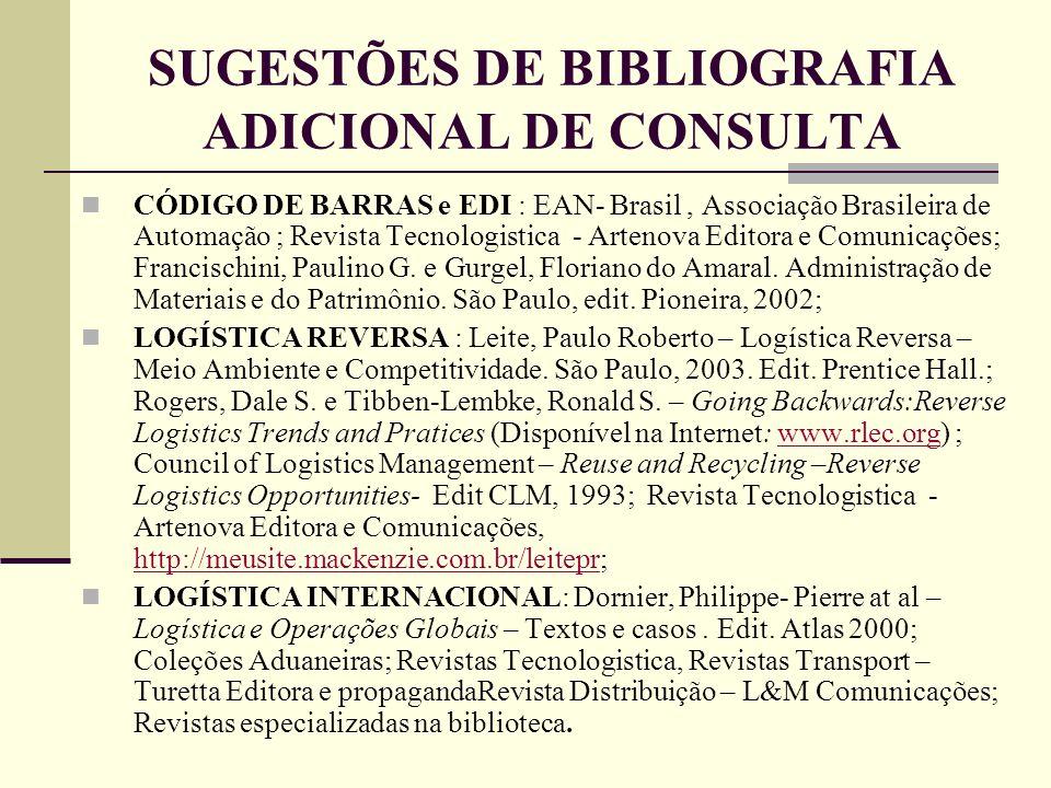 SUGESTÕES DE BIBLIOGRAFIA ADICIONAL DE CONSULTA