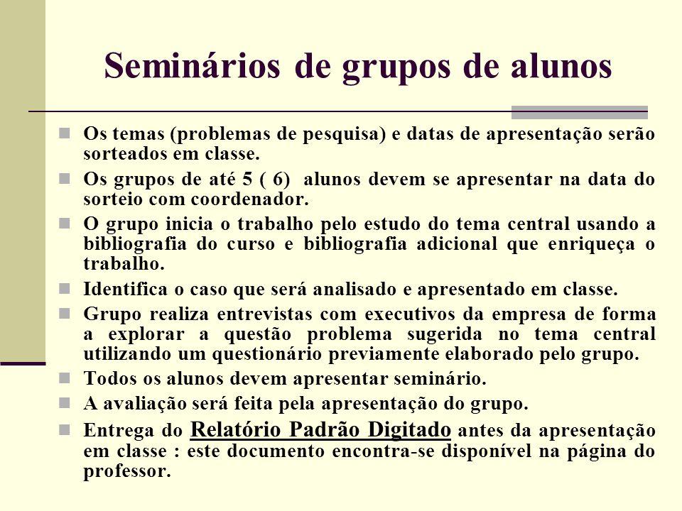 Seminários de grupos de alunos