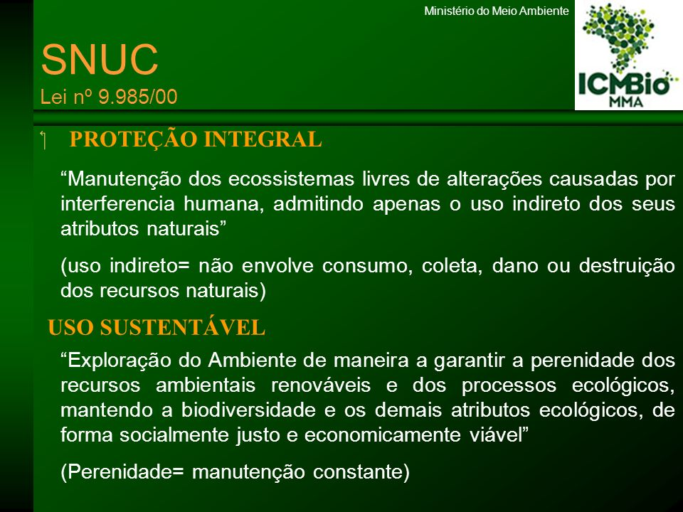 SNUC Lei nº 9.985/00 PROTEÇÃO INTEGRAL USO SUSTENTÁVEL