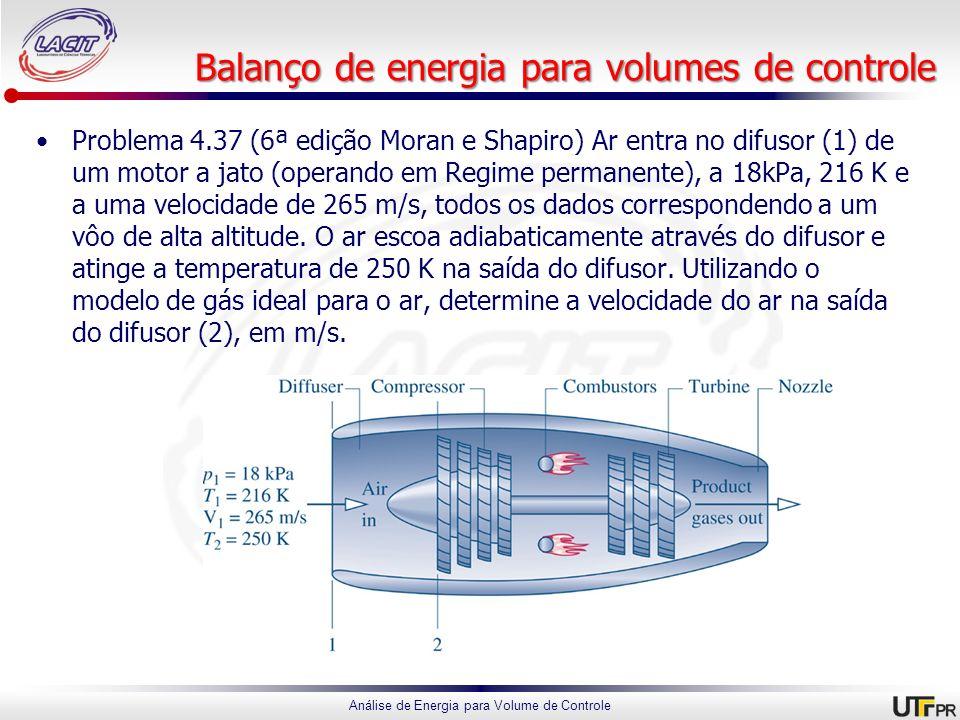 Balanço de energia para volumes de controle