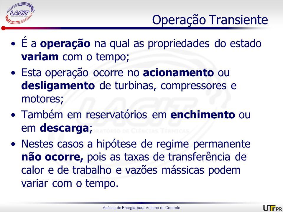 Operação Transiente É a operação na qual as propriedades do estado variam com o tempo;