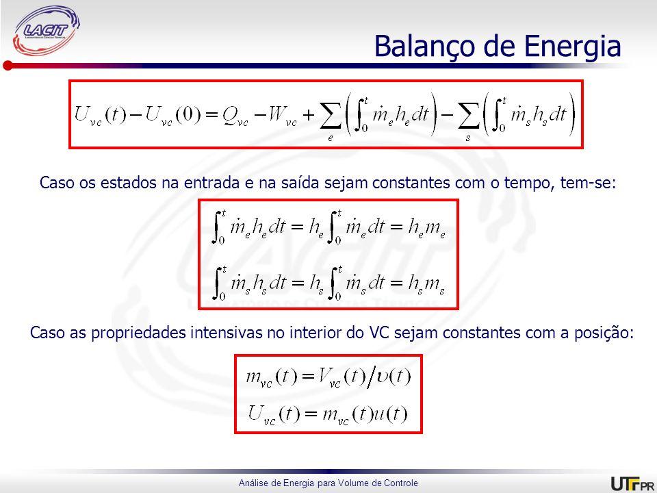 Balanço de Energia Caso os estados na entrada e na saída sejam constantes com o tempo, tem-se: