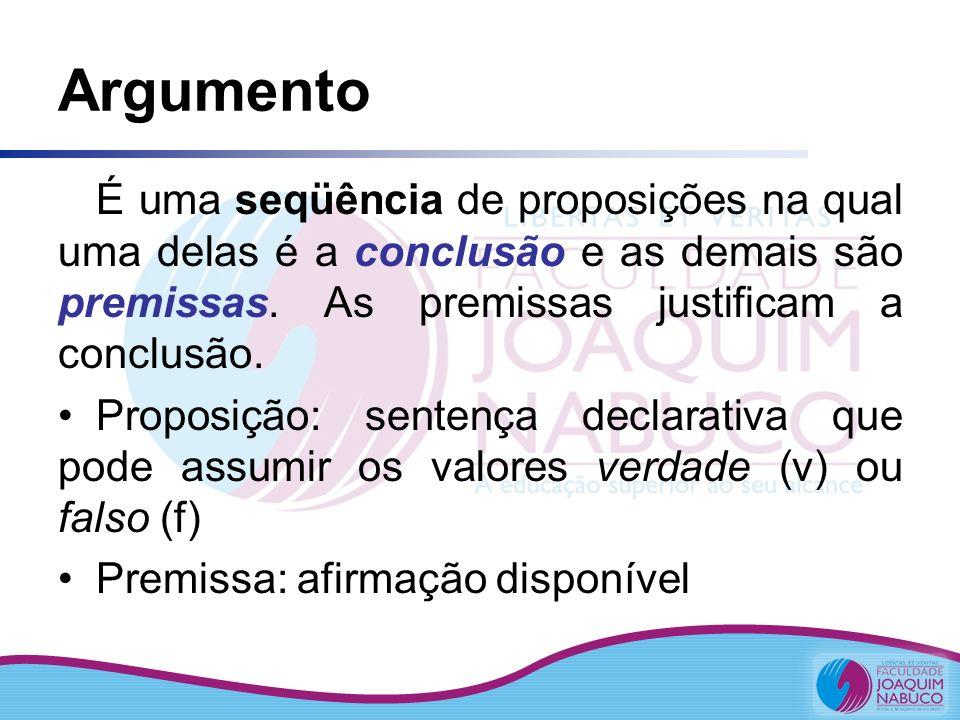 Argumento É uma seqüência de proposições na qual uma delas é a conclusão e as demais são premissas. As premissas justificam a conclusão.