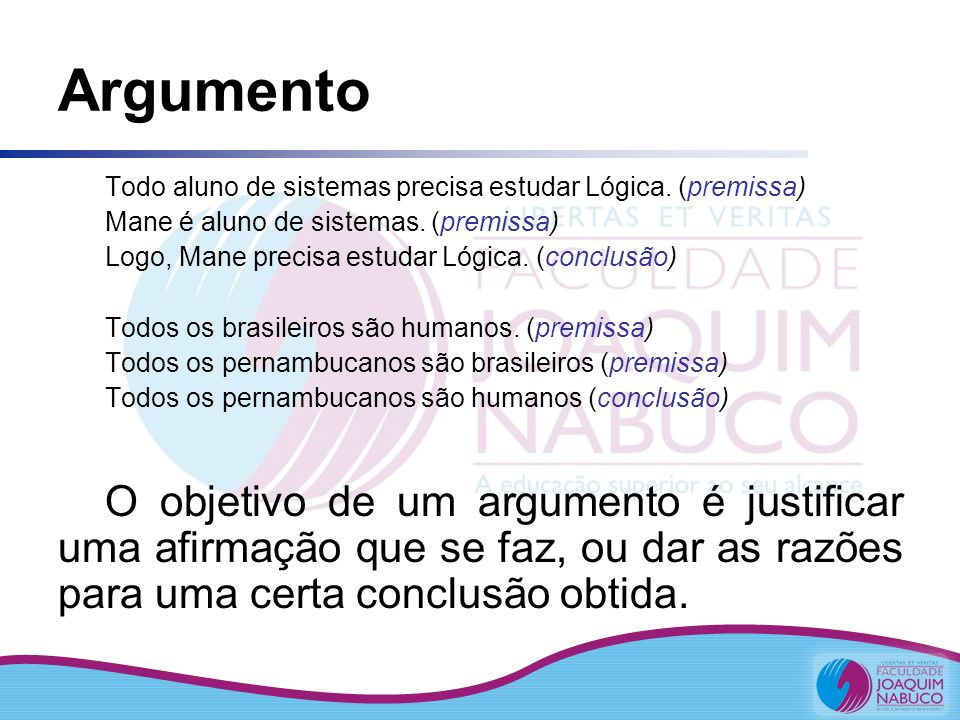 Argumento Todo aluno de sistemas precisa estudar Lógica. (premissa) Mane é aluno de sistemas. (premissa)