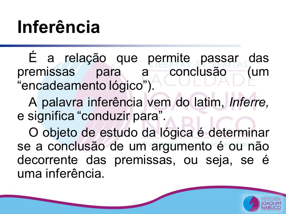 Inferência É a relação que permite passar das premissas para a conclusão (um encadeamento lógico ).