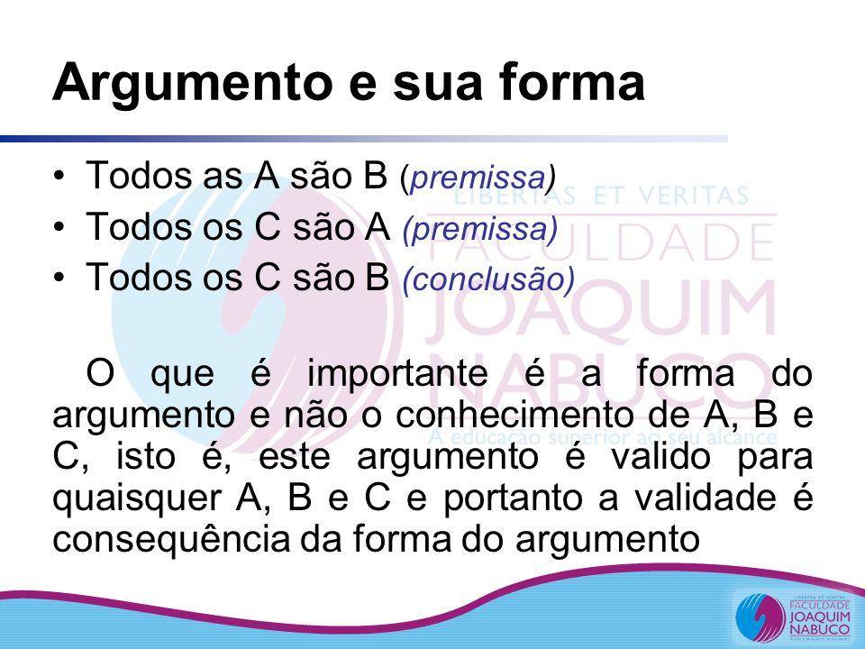 Argumento e sua forma Todos as A são B (premissa)