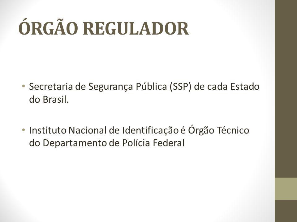 ÓRGÃO REGULADOR Secretaria de Segurança Pública (SSP) de cada Estado do Brasil.