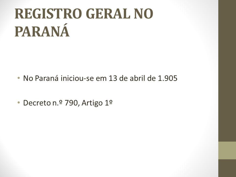 REGISTRO GERAL NO PARANÁ