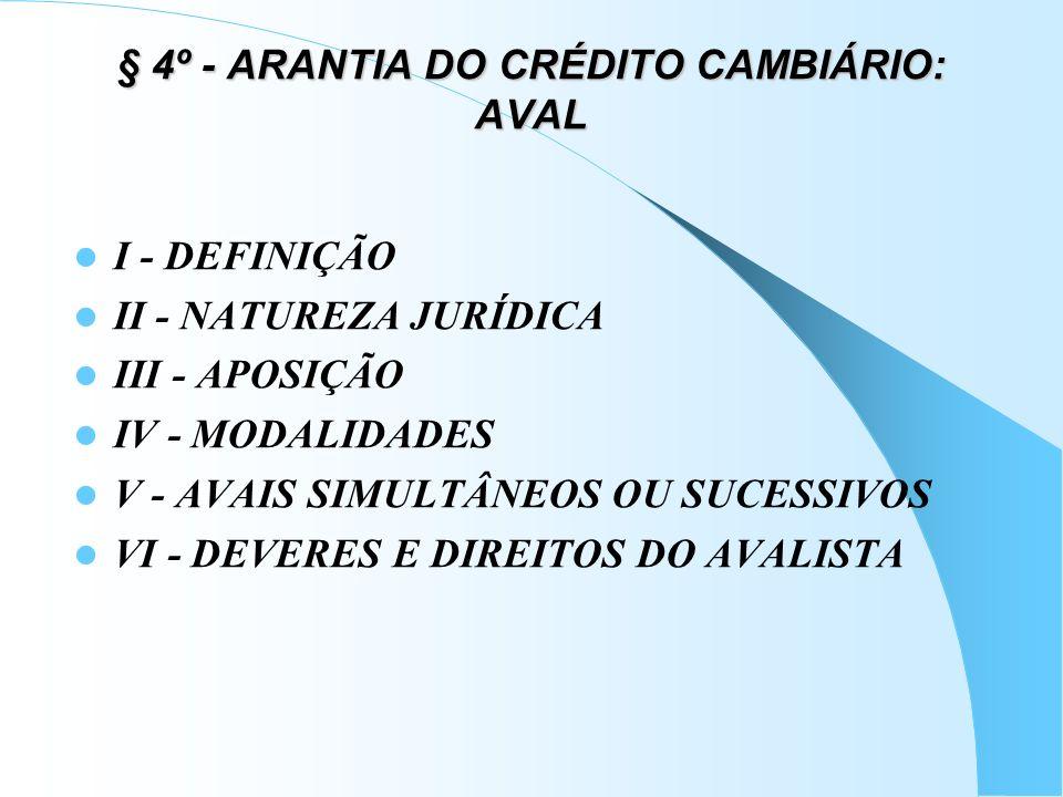 § 4º - ARANTIA DO CRÉDITO CAMBIÁRIO: AVAL