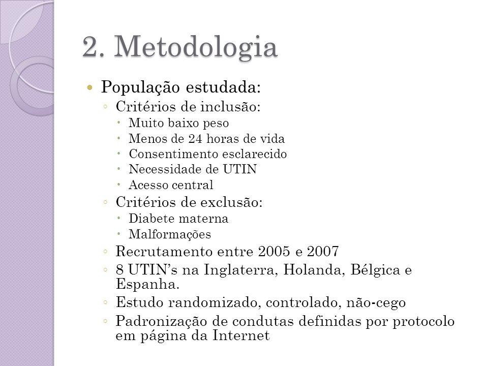 2. Metodologia População estudada: Critérios de inclusão: