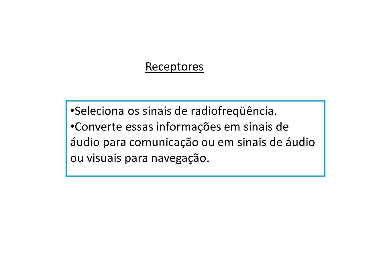 Receptores Seleciona os sinais de radiofreqüência.