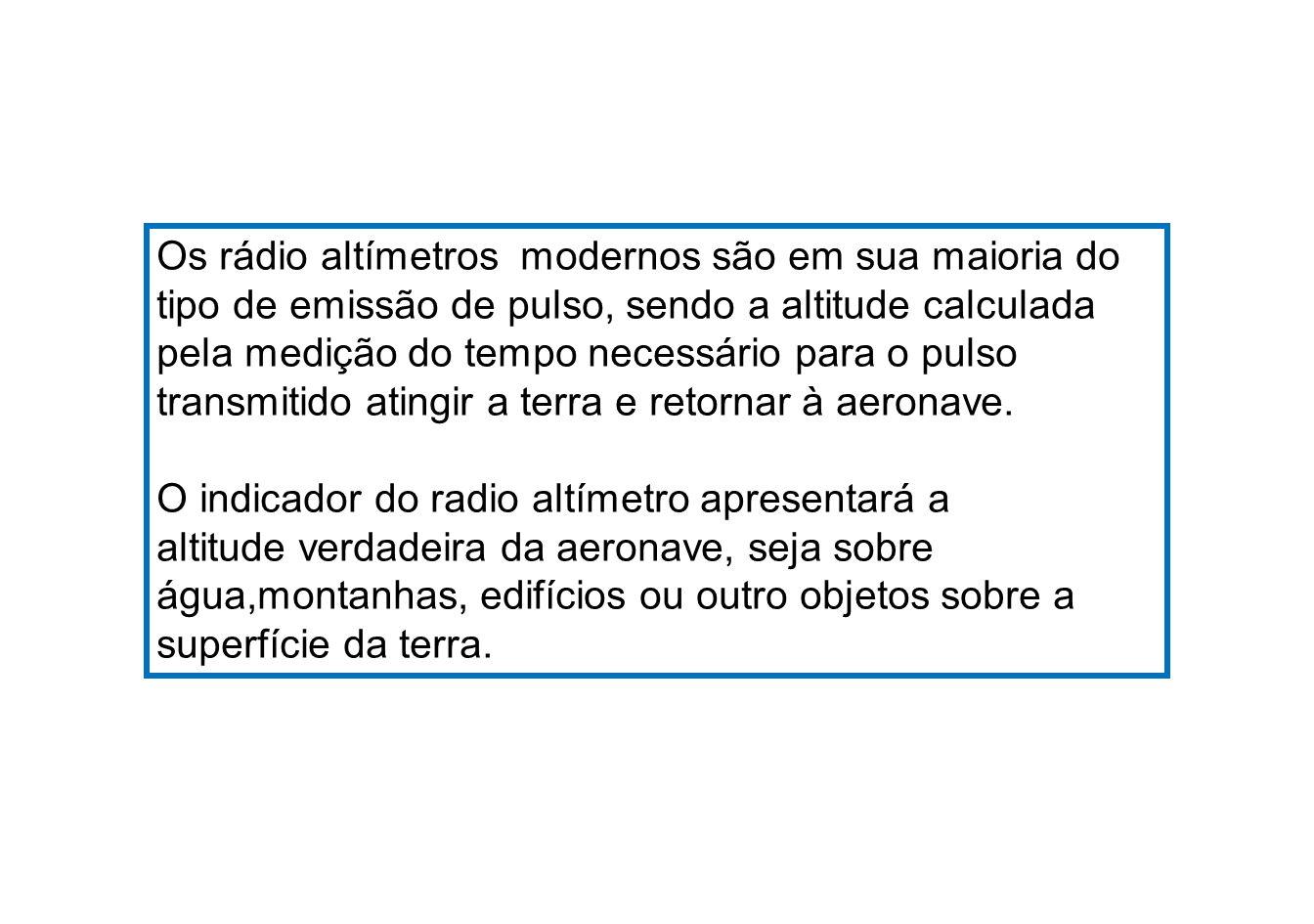 Os rádio altímetros modernos são em sua maioria do tipo de emissão de pulso, sendo a altitude calculada