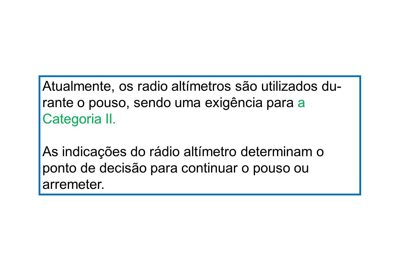 Atualmente, os radio altímetros são utilizados du-
