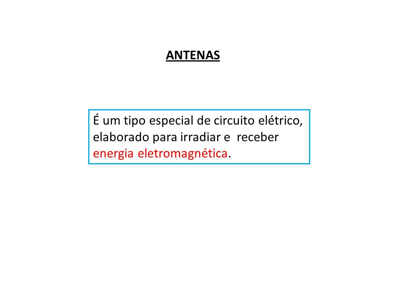 ANTENAS É um tipo especial de circuito elétrico, elaborado para irradiar e receber.