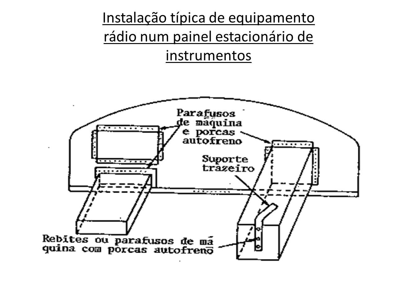 Instalação típica de equipamento rádio num painel estacionário de instrumentos