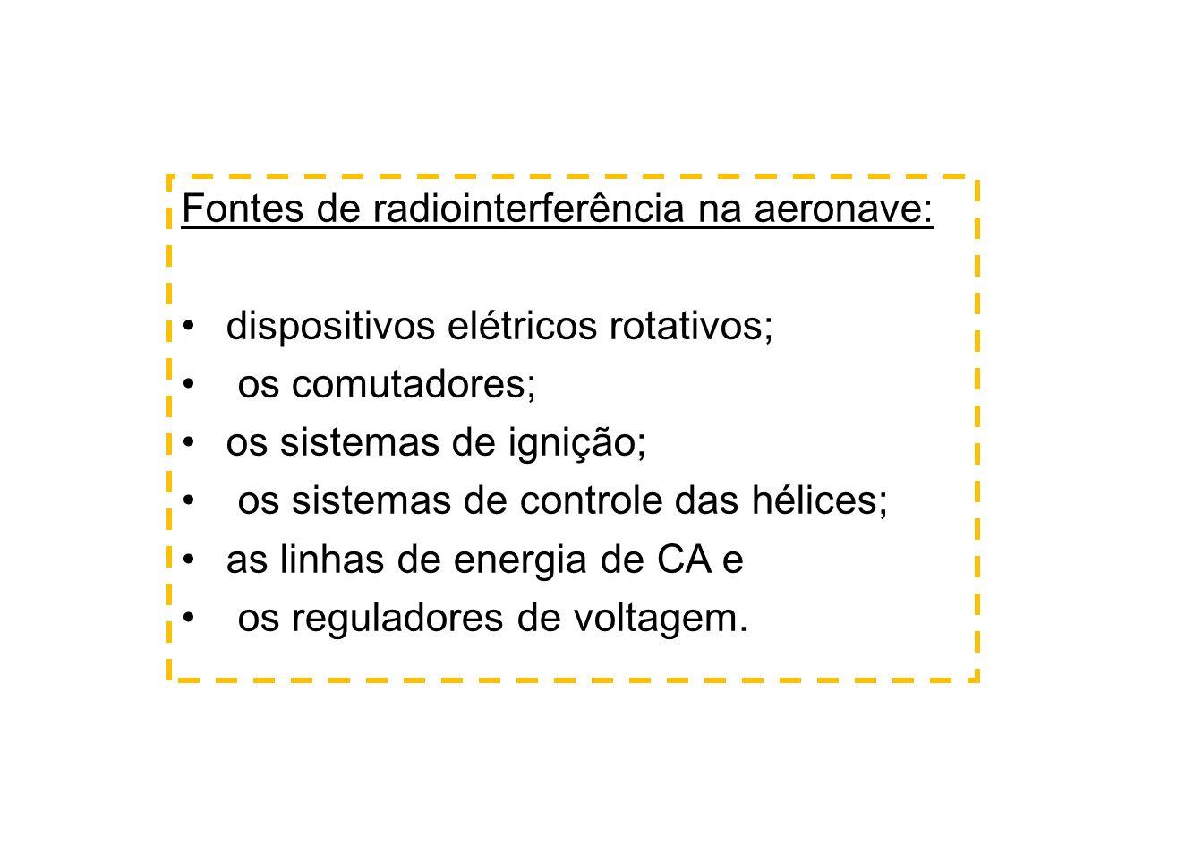 Fontes de radiointerferência na aeronave: