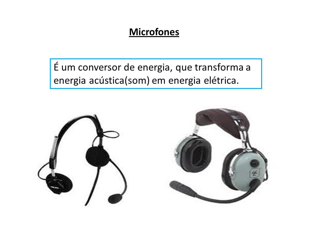 Microfones É um conversor de energia, que transforma a energia acústica(som) em energia elétrica.