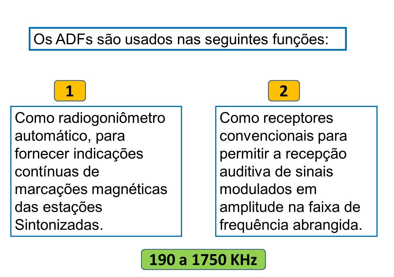 1 2 190 a 1750 KHz Os ADFs são usados nas seguintes funções: