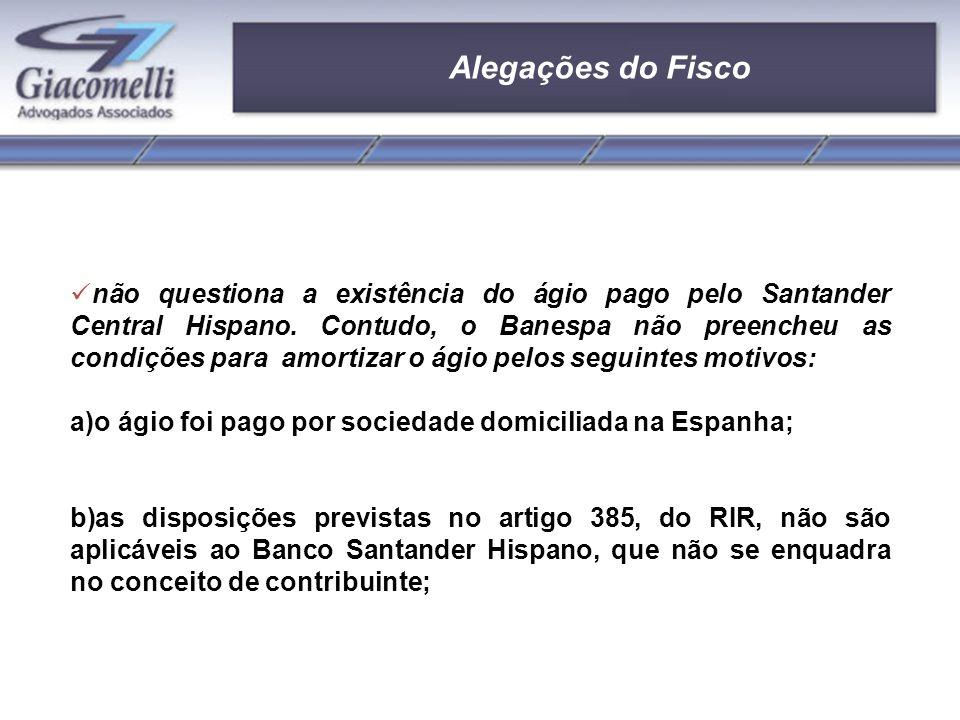 Alegações do Fisco