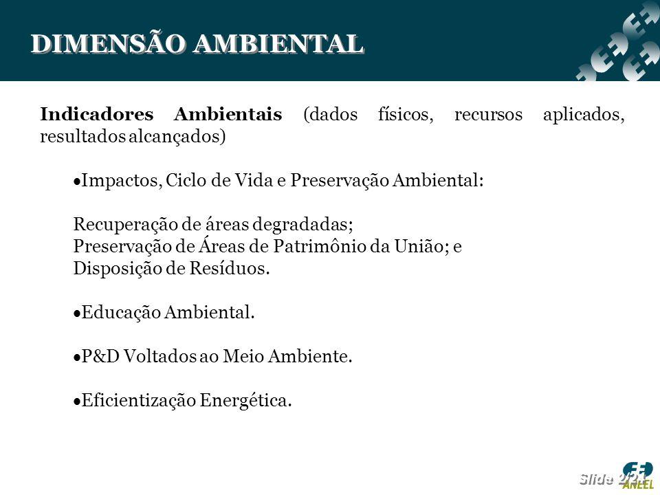 DIMENSÃO AMBIENTAL Indicadores Ambientais (dados físicos, recursos aplicados, resultados alcançados)