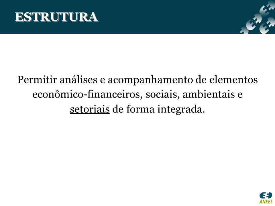 ESTRUTURA Permitir análises e acompanhamento de elementos econômico-financeiros, sociais, ambientais e setoriais de forma integrada.