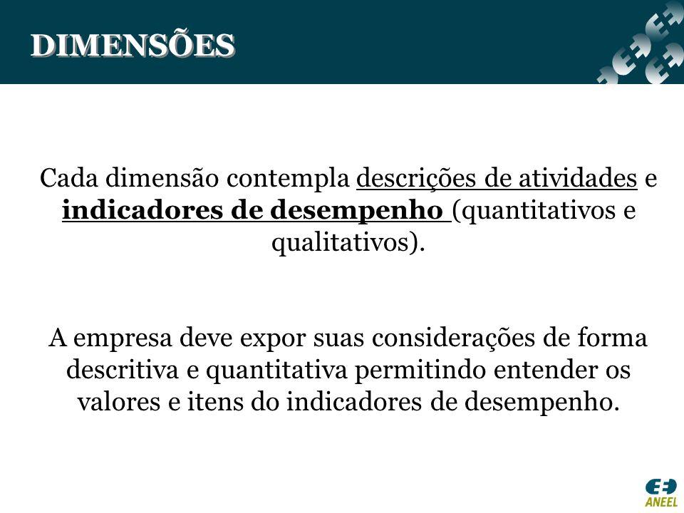 DIMENSÕES Cada dimensão contempla descrições de atividades e indicadores de desempenho (quantitativos e qualitativos).