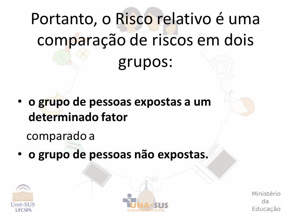 Portanto, o Risco relativo é uma comparação de riscos em dois grupos:
