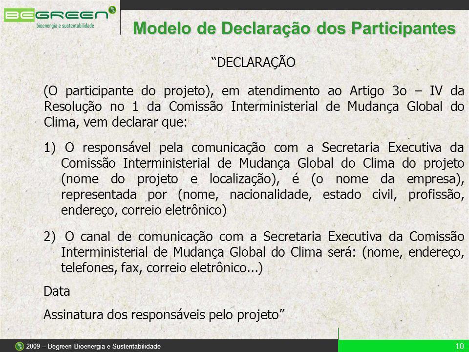 Modelo de Declaração dos Participantes