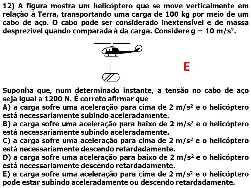 12) A figura mostra um helicóptero que se move verticalmente em relação à Terra, transportando uma carga de 100 kg por meio de um cabo de aço. O cabo pode ser considerado inextensível e de massa desprezível quando comparada à da carga. Considere g = 10 m/s2.