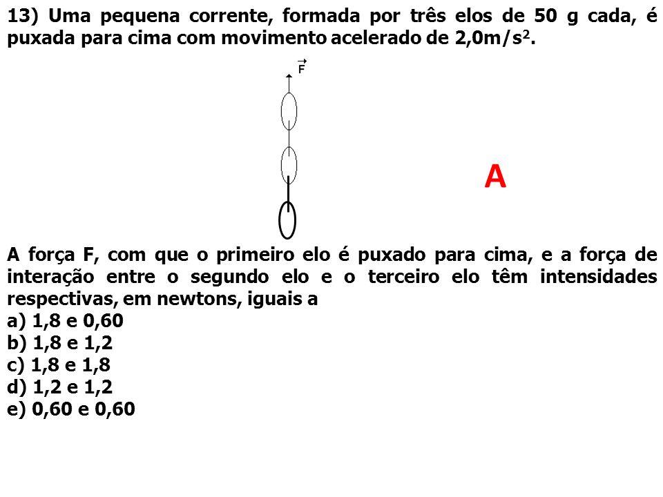 13) Uma pequena corrente, formada por três elos de 50 g cada, é puxada para cima com movimento acelerado de 2,0m/s2.