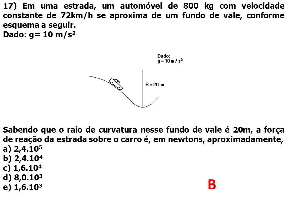 17) Em uma estrada, um automóvel de 800 kg com velocidade constante de 72km/h se aproxima de um fundo de vale, conforme esquema a seguir.