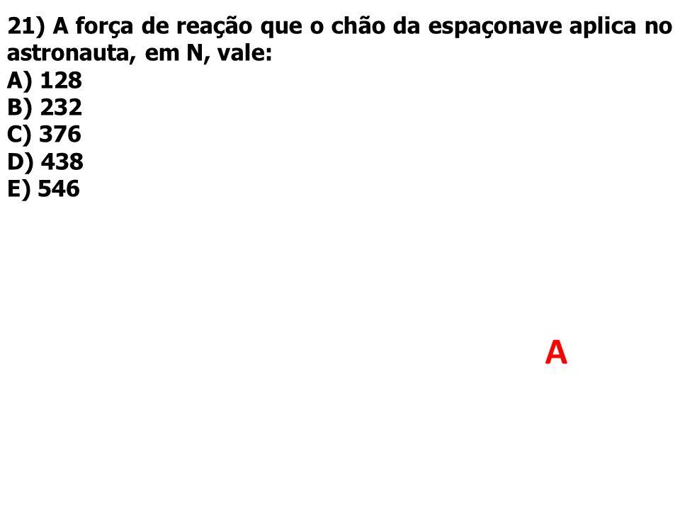21) A força de reação que o chão da espaçonave aplica no astronauta, em N, vale: