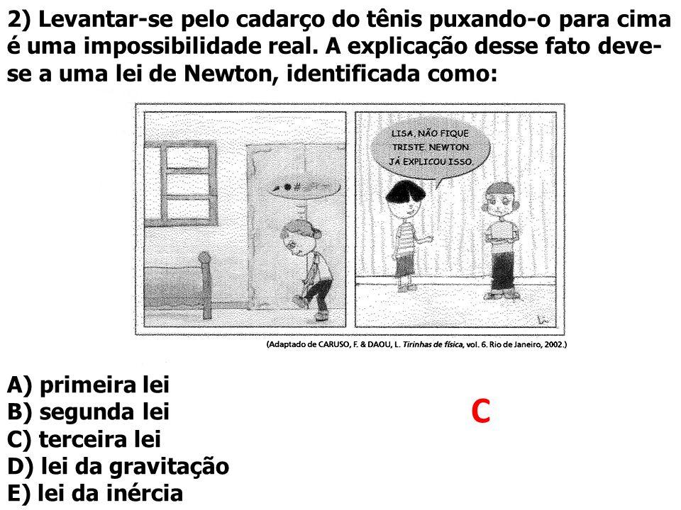 2) Levantar-se pelo cadarço do tênis puxando-o para cima é uma impossibilidade real. A explicação desse fato deve-se a uma lei de Newton, identificada como: