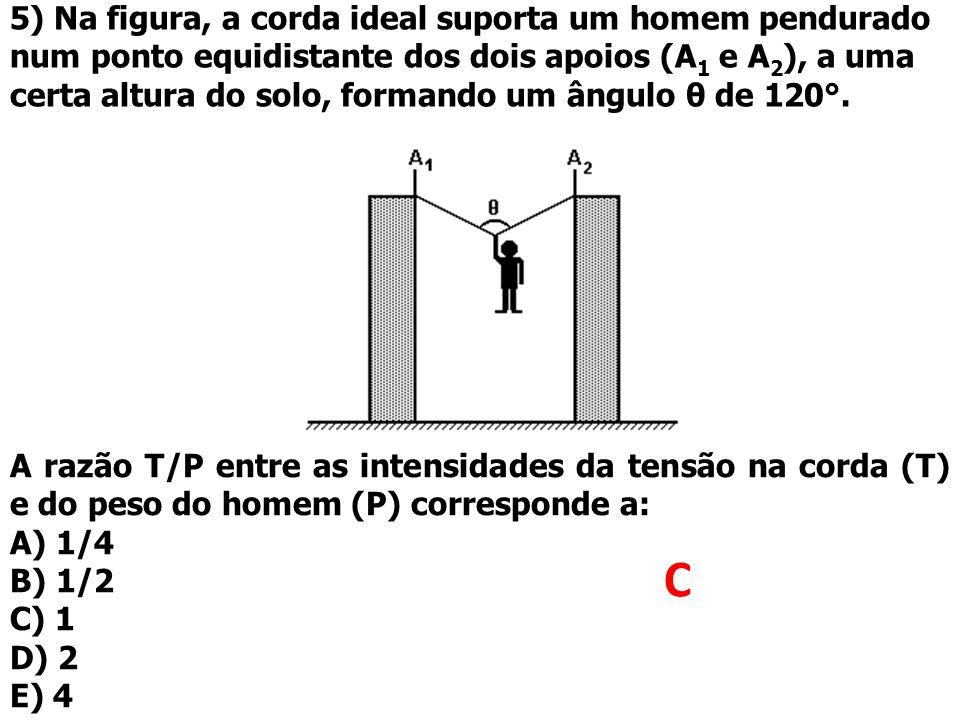 5) Na figura, a corda ideal suporta um homem pendurado num ponto equidistante dos dois apoios (A1 e A2), a uma certa altura do solo, formando um ângulo θ de 120°.