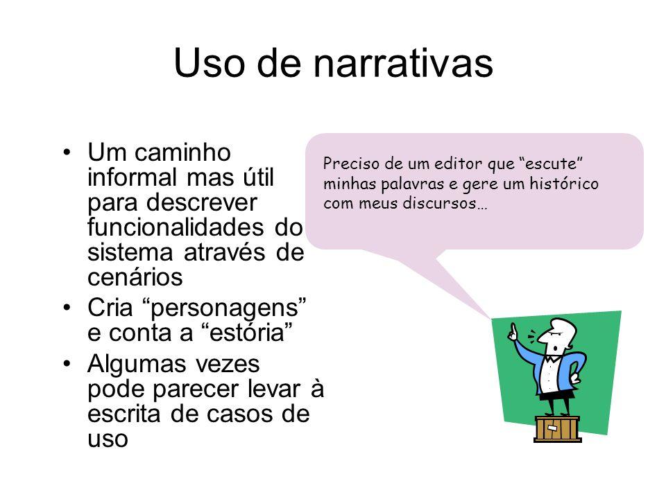 Uso de narrativas Um caminho informal mas útil para descrever funcionalidades do sistema através de cenários.