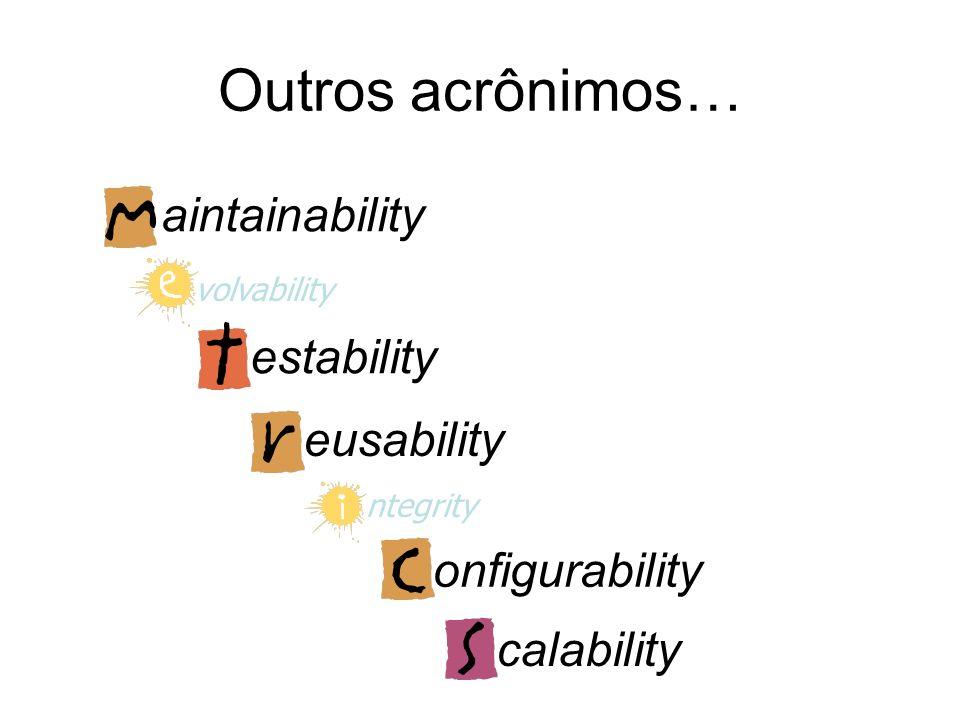 Outros acrônimos… aintainability estability eusability onfigurability
