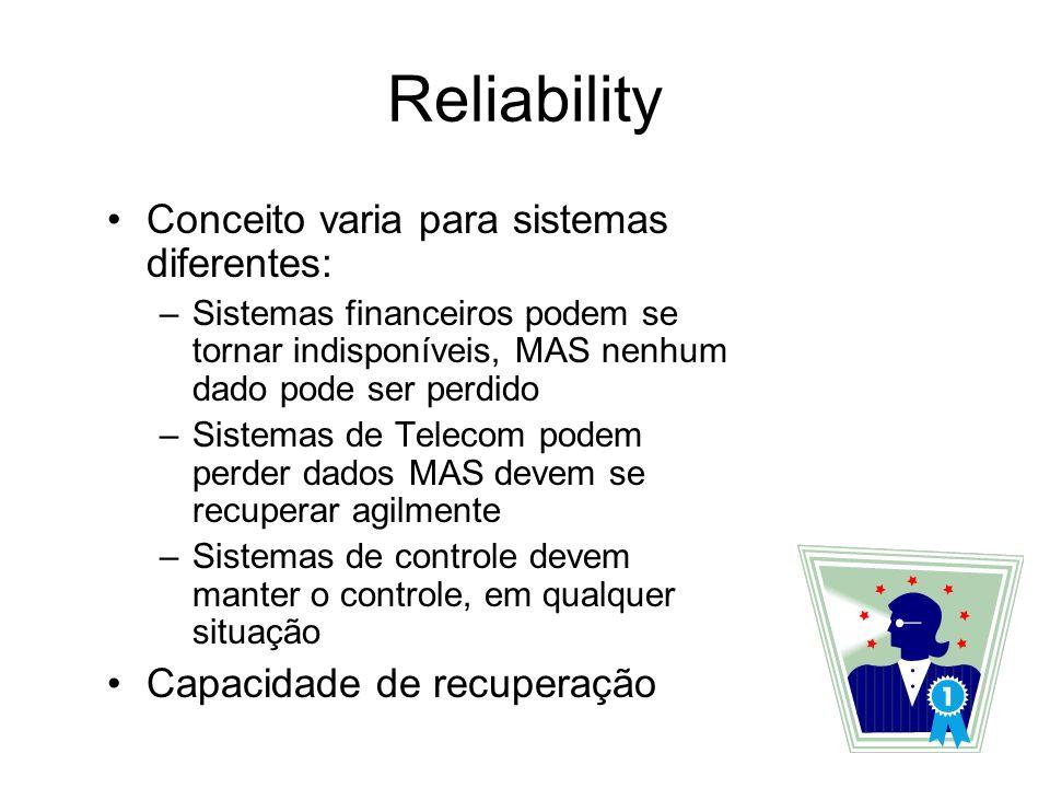 Reliability Conceito varia para sistemas diferentes: