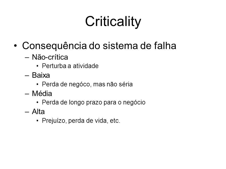 Criticality Consequência do sistema de falha Não-crítica Baixa Média