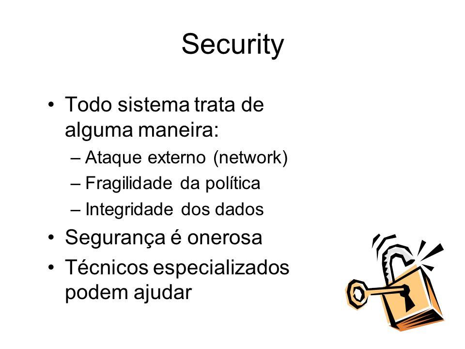 Security Todo sistema trata de alguma maneira: Segurança é onerosa